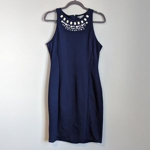 H&M Jeweled Neck Sheath Bodycon Dess in Navy